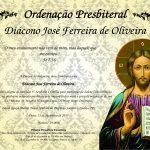 Convite para ordenação presbiteral do Diácono José Ferreira