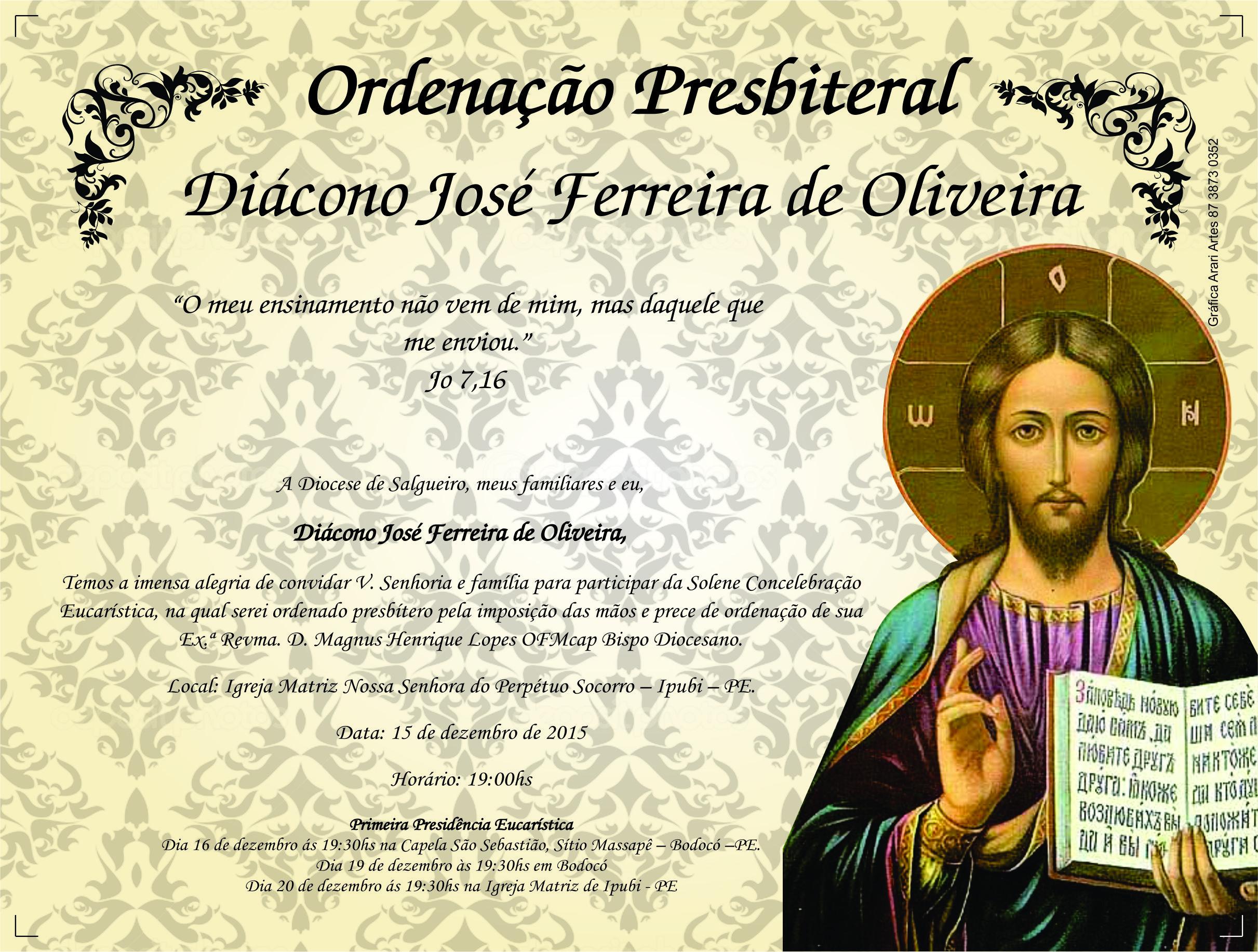 JOSÉ FERREIRA - CONVITE DA ORDERNAÇÃO PRESBITERAL  0,20 X 0,16